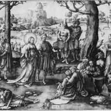 Lucas van Leyden; Mary Magdalen Enjoying the Pleasures of the World, The Dance of the Magdalen; 1519; engraving; 288 x 394 mm