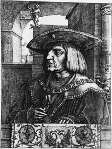 Lucas van Leyden; Portrait of Emperor Maximilian I; 1520; etching and engraving; 261 x 193 mm