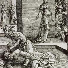 "Lucas van Leyden; Power of Women Series, ""Jael and Sisara""; 1517-18; woodcut"