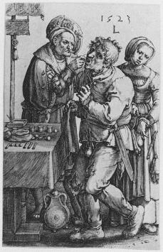 Lucas van Leyden; The Dentist; 1523; engraving; 117 x 74 mm