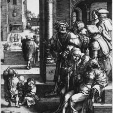 Lucas van Leyden; The Poet Virgil Suspended in a Basket; 1525; engraving