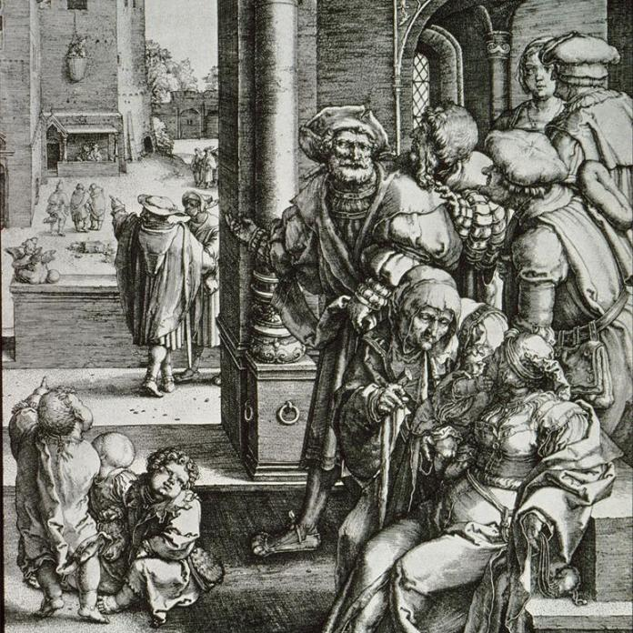 Lucas van Leyden; Virgil Suspended In a Basket; engraving; 1525