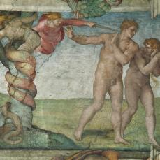 Michelangelo Buonarroti; Ceiling of the Sistine Chapel Showing the Expulsion of Adam and Eve from the Garden; fresco; 1508-12