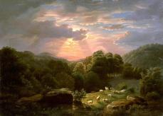 Robert S. Duncanson, Landscape with Sheep, oil on canvas, 32 1/4 x 44 1/8 in. (81.9 x 112.1 cm.)