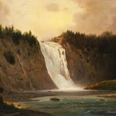 Robert S. Duncanson, Waterfall on Mont-Morency, 1864 , oil on canvas, 18 x 27 7/8 in. (45.7 x 70.8 cm.)