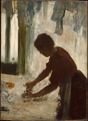 A Woman Ironing Artist- Edgar Degas (French, Paris 1834–1917 Paris) Date- 1873 Medium- Oil on canvas Dimensions- 21 3_8 x 15 1_2 in. (54.3 x 39