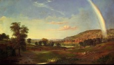 Robert S. Duncanson, Landscape with Rainbow , 1859 , oil on canvas, 30 1/8 x 52 1/4 in. (76.3 x 132.7 cm.)