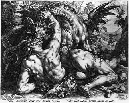 THE DRAGON DEVOURING THE COMPANIONS OF CADMUS, Hendrik Goltzius 1588