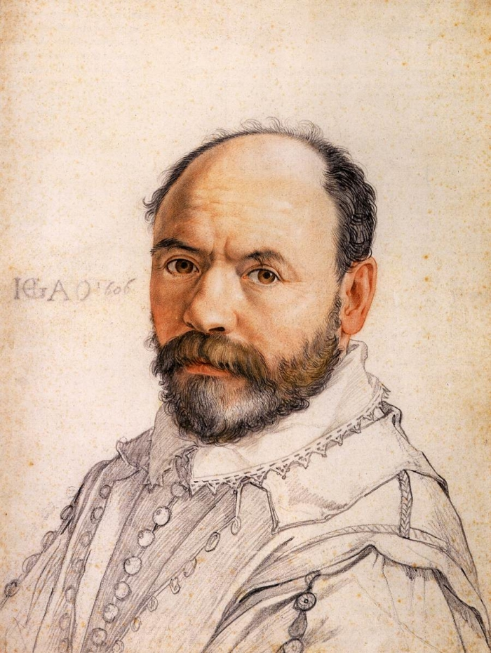 Hendrick Goltzius, Portrait of the Sculptor Pierre Francheville, 1591, 	Black and red chalk, brush in grey and brown, 415 mm (16.34 in). - 308 mm (12.13 in)