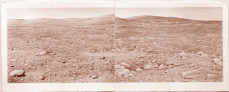 "David Clarkson Columbia Hills, Mars Diptych sepia ink on paper 2008 22"" x 60"""