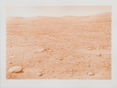 "David Clarkson david Sepia Columbia Hills, Mars (left) ink on paper 2007 22"" x 30"""