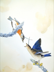 "Justin Gibbens Bird of Paradise XIV- Unicorn Bluebirds Watercolor, graphite, gouache, oolong tea, magic on paper 2008 30"" x 23"""