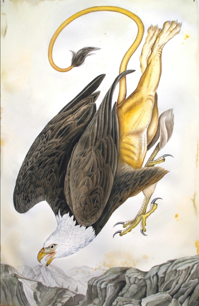 "Justin Gibbens Bird of Paradise XIX- American Griffin Watercolor, graphite, gouache, ink, oolong tea on paper 2008 40"" x 26"""