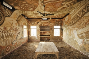 "Yusuke Asai ""Earth Painting- Blessing Dance"" 2011, 11 kinds of soils, cow dung, ash of straw, water, straw copy"