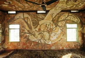 "Yusuke Asai ""Earth Painting- Stories of YAOYOROZU"" 2012, 13 kinds of soils, water, ash of straw copy"