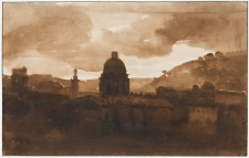 "François Marius Granet's ""View of Rome from Santa Trinita dei Monti at Sunset copy"