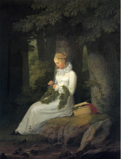 Georg Friedrich Kersting, The Wreath Maker, 1815, oil on canvas, 40 x 32 cm. Nationalgalerie, Berlin.Georg Friedrich Kersting, The Wreath Maker 1815