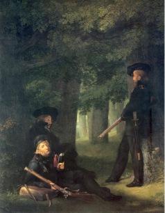 Georg Friedrich Kersting, Theodor Körner, Friesen and Hartmann on Outpost Duty, 1815, oil on canvas, 46 x 35 cm. Nationalgalerie, Berlin