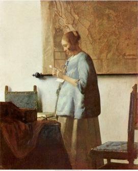 Jan Vermeer van Delft- Woman in Blue Reading a Letter,1664