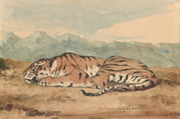 "Royal Tiger,"" by Ferdinand-Eugène-Victor Delacroix, circa 1800s copy"