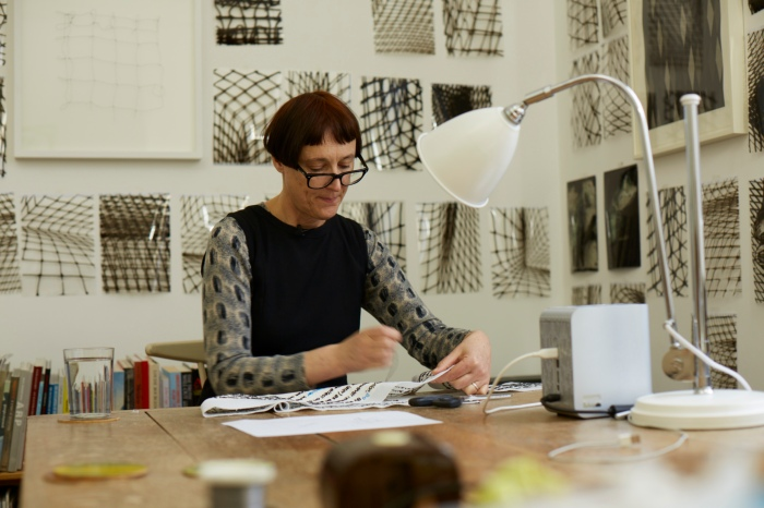 15 June - Cornelia Parker at work on Magna Carta An Embroidery  Photograph by Joseph Turp