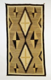 Navajo , Rug with Two Grey Hills palette, light brown ground, two central cream diamonds, Woven Rug, c.1900-1930, Wool; Dye, 230 cm x 123 cm x 0.3 cm, Peabody Museum of Archaeology and Ethnology