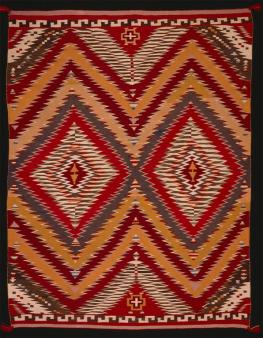 Navajo, Eye-dazzler blanket, Textiles, c. 1890 , Cotton and wool; tapestry weave (slit and dovetailed)
