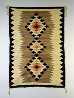 Navajo, Two Grey Hills palette: cream ground w/ vertical panel of three diamonds, Early Rug Period Date c.1900-1930, Wool; Dye, 164.5 cm x 114.5 cm x 0.3 cm, Peabody Museum of Archaeology and Ethnology