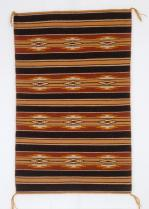 Blanche Hale, Navajo, Wide Ruins rug, bands with diamonds and narrow orange-tan stripes, c.1975-1990, New Mexico, Wool, 100 cm x 63.5 cm x 0.3 cm