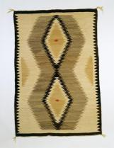 Navajo, Two Grey Hills palette: cream ground w/ 2 tan central vertical diamonds, Early Rug Period, c.1900-1930, Wool; Dye, 153 cm x 101 cm x 0.3 cm , Peabody Museum of Archaeology and Ethnology
