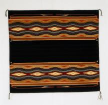 "Kalley Keams, Navajo Weaving, ""Autumn Snow"", 2001, Wool, 113 cm x 125 cm, Peabody Museum of Archaeology and Ethnology Wool; Dye, Peabody Museum of Archaeology and Ethnology"