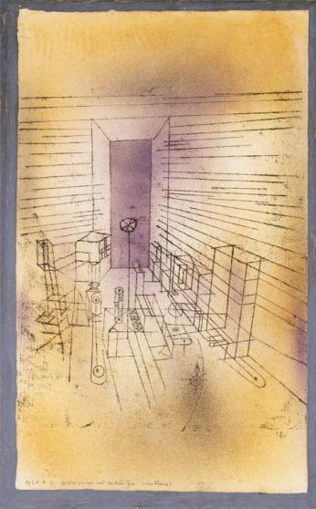 Ghost Chamber with the Tall Door (New Version) Date 1925 Material Sprayed and brushed watercolor, and transferred printing ink on paper, bordered with gouache and ink Measurements H. 19-1/8, W. 11-5/8 inches (48.7 x 29.4 cm.)