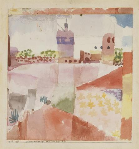 Hammamet with Its Mosque Date 1914 Material Watercolor and pencil on paper Measurements H. 8-1/8, W. 7-5/8 inches (20.6 x 19.4 cm.)