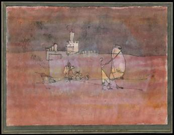 Episode Before an Arab Town; [Szene vor einer arabischen Stadt] Date 1923 Material Watercolor and transferred printing ink on paper, bordered with gouache and ink Measurements H. 8-7/8, W. 12 inches (22.5 x 30.5 cm.)