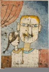 Adam and Little Eve Date 1921 Material Watercolor and transferred printing ink on paper Measurements H. 12-3/8, W. 8-5/8 inches (31.4 x 21.9 cm.)