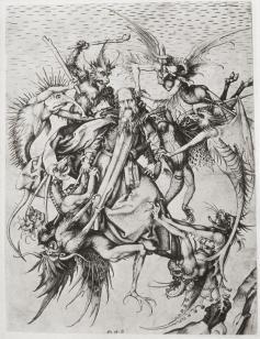 Schongauer, 15thC. Temptation of St. Anthony, c.1480-90