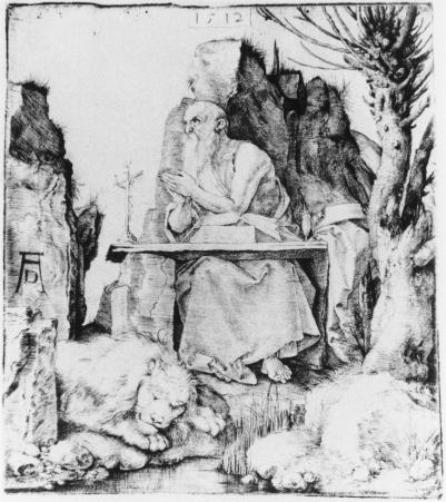 Albrecht Dürer, 1471 - 1528 Title ST. JEROME BY THE POLLARD WILLOW, 1512 drypoint 208 x 185 mm