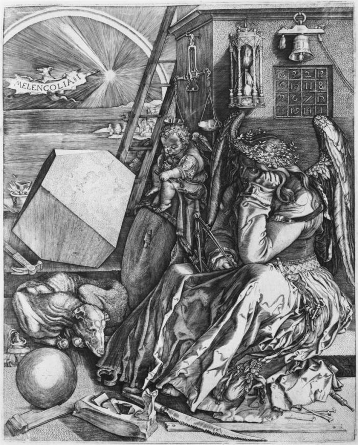 Albrecht Dürer, 1471 - 1528 MELENCOLIA I , engraving, 235 x 188 mm