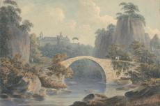 John Warwick Smith, Watercolor and white gouache on medium, smooth wove paper mounted on thick cream slightly textured laid paper, 5 x 7 1/2 inches (12.7 x 19.1 cm), 1797.