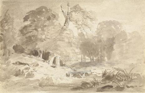 Carl Blechen, Rural Landscape in the Mark Brandenburg, Brown ink over graphite, 16.3 x 25.2 cm (6 7/16 x 9 15/16 in.), 19th c.