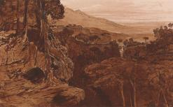 Edward Lear, Bavella, Corsica, Pen in brown and black ink with brown wash over graphite on thick, rough, beige wove paper, 11 x 16 3/4 inches (27.9 x 42.5 cm)Image: 9 x 14 1/2 inches (22.9 x 36.8 cm). 1868.