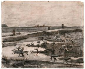 Vincent van Gogh, Landscape with Bog Trunks (Travaux aux Champs), Graphite pencil with pen and brown ink on paper, 34.3 x 42.4 cm (13 1/2 x 16 11/16 in.), 1883.