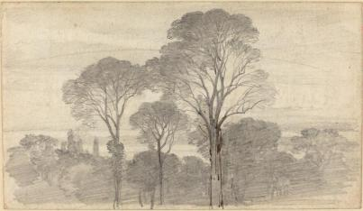 Myles Birket Foster, An Evening Landscape with Tall Trees, graphite with touches of pen and brown ink on wove paper, 8.7 x 15 cm (3 7/16 x 5 7/8 in.); mount: 16 x 17.5 cm (6 5/16 x 6 7/8 in.), c. 1825 - 1899.