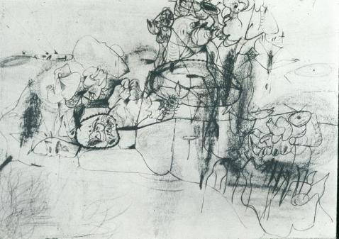 Arshile Gorky, Virginia Landscape. pencil and crayon on paper, 1943.