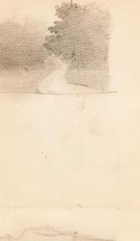 Georgia O'Keeffe, graphite on paper, 6 1/4 x 4 3/8 in, 1905 / 1906.