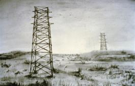 William Kentridge, WEIGHING AND WANTING: Pylon Landscape, charcoal and pastel on paper, 120cm x 160cm, 1997.