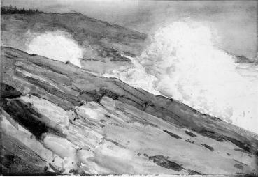 Winslow Homer, Surf on Rocks, watercolor, 1883, 14.5 x 21.25 inches