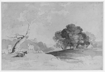 Thomas Peploe Wood, bursh drawing in brown wash over graphite, 17.7 x 26.6 cm., 19th C.