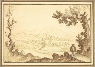 Remigio Cantagallina, Landscape near Pecchio, brown ink, 15.2 x 22.4cm., 16th C.