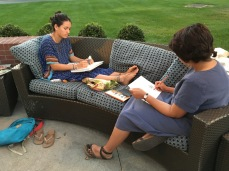 Indi and Priyam drawing at the hotel in Albany